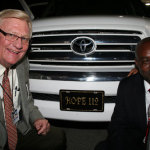 "Southern Florida District Superintendent, David Nixon (l) poses with Pastor Paul Zamor in front of Toyota pickup truck given to him at the Southern Florida District NMI Convention, April 26.  The license on the front of the truck read, ""Hope 112"" -- which has been the theme of the project with Pastor Zamor and his Gros-Morne church in Haiti.  ""Hope 112"" is a reference to the Hope through God from the devastating earthquake that took place one 1-12-2010."